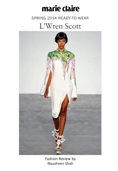 Maire Claire: London Fashion Week Spring/Summer 2014: L'Wren Scott