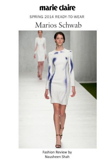 Marie Claire: London Fashion Week Spring/Summer 2014: Marios Schwab
