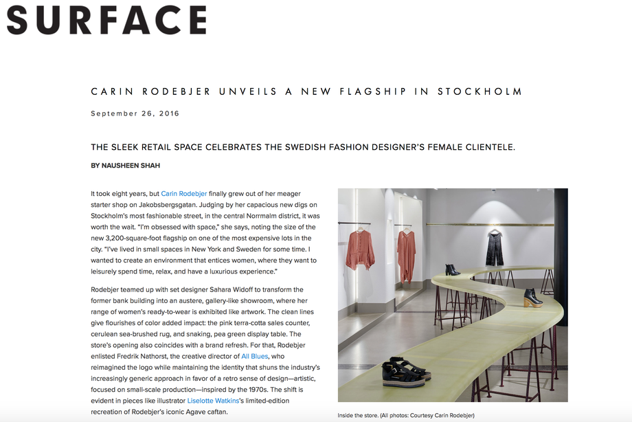 Surface Magazine: Carin Rodebjer Unveils a New Flagship in Stockholm