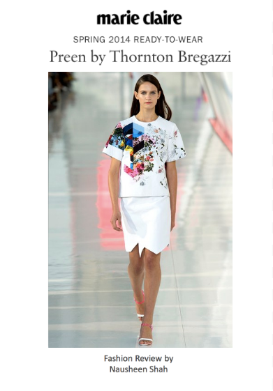 Marie Claire: London Fashion Week S/S 2014: Preen