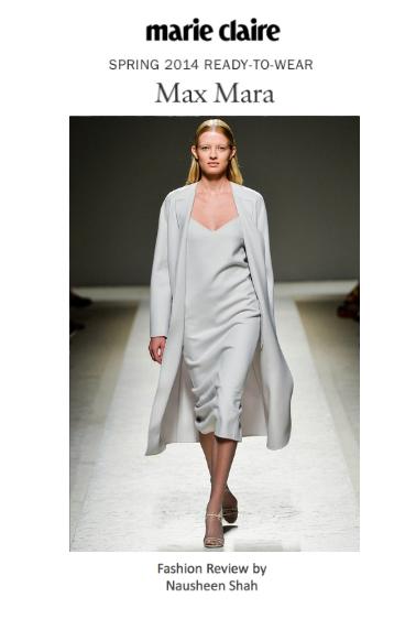 Marie Claire: Milan Fashion Week Spring/Summer 2014: Max Mara