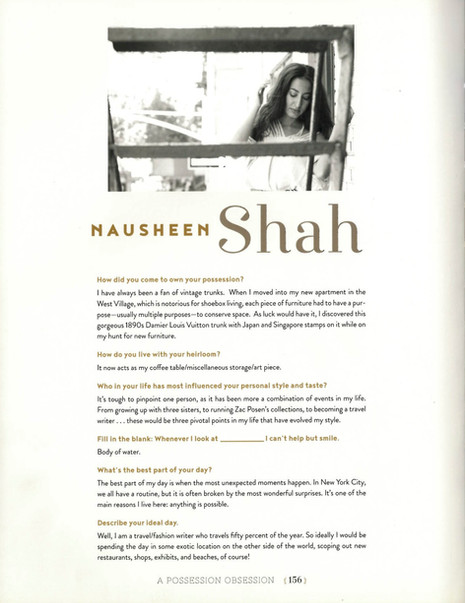 Nausheen Shah Featured in A Possession Obsession: What We Cherish and Why