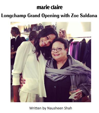 Marie Claire: Longchamp Grand Opening with Zoe Saldana