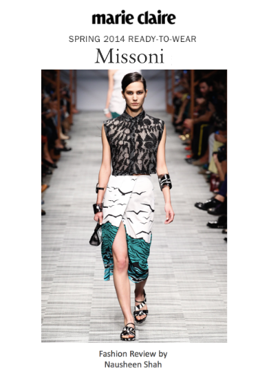 Marie Claire: Milan Fashion Week Spring/Summer 2014: Missoni