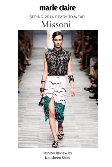 Marie Claire: Milan Fashion Week Spring/Summer 2014: Missoni