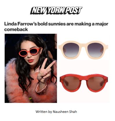 Linda Farrow's bold sunnies are making a major comeback
