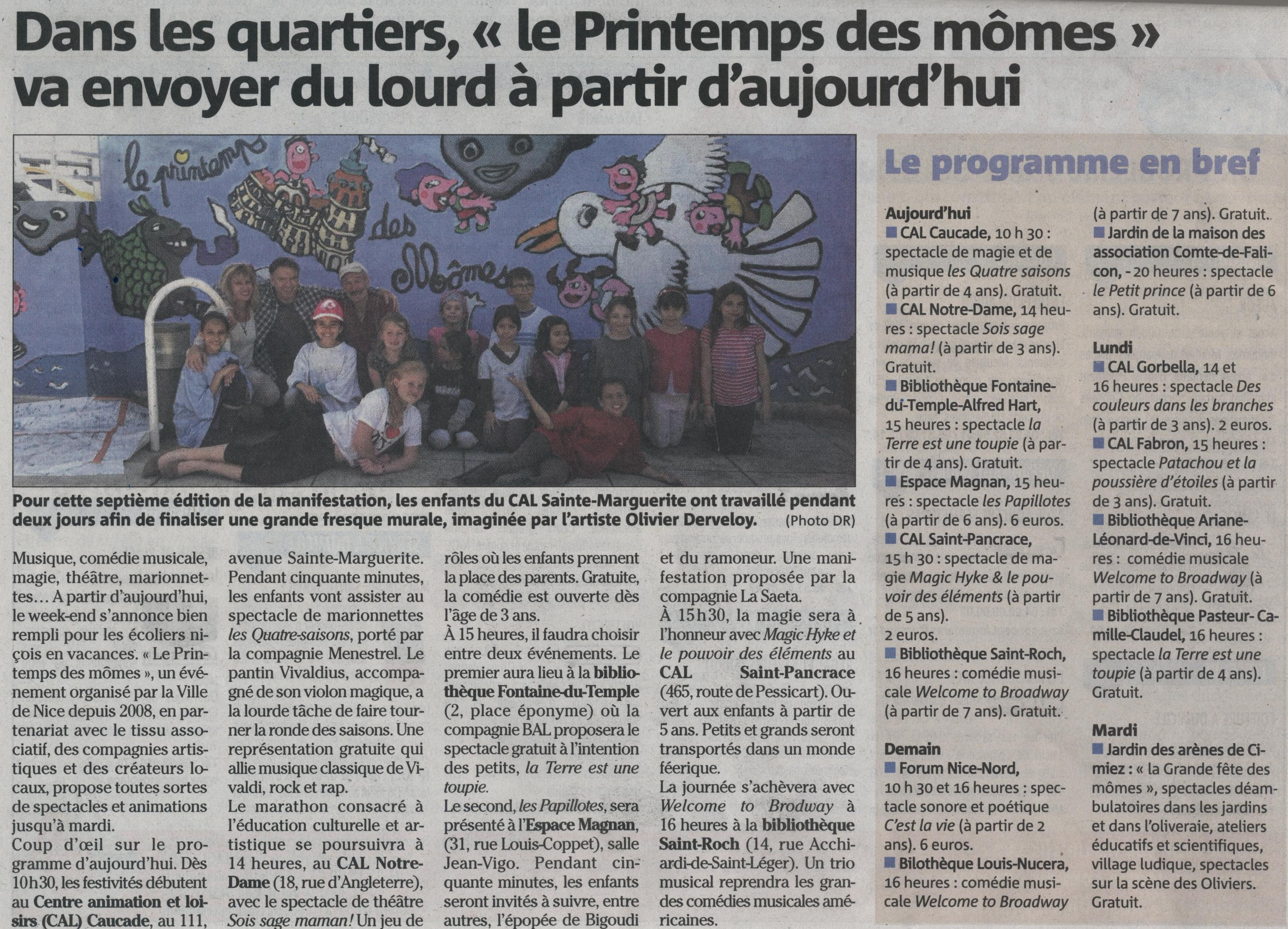 Article nice matin du  25avril2014. Fresque CAL Ste Marguerite -2