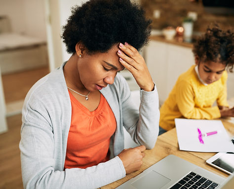 African American mother feeling stressed