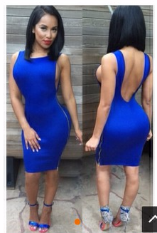 Royal Blue Armholes Backless Club Dress  sidity-cutique