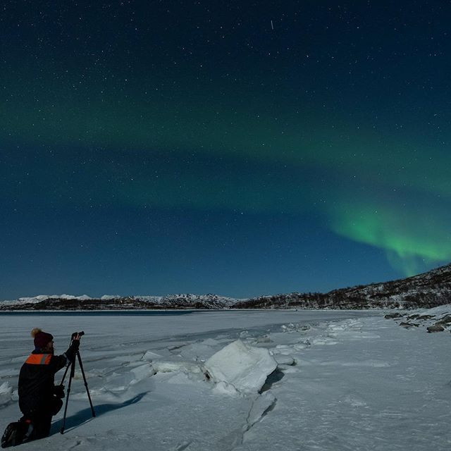 Photograph on tripod when looking at Northern Lights in Norway