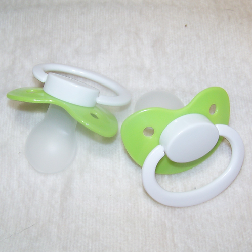 Pacifier Large Adult AB/DL Nuke 6 Lime Green & Wht