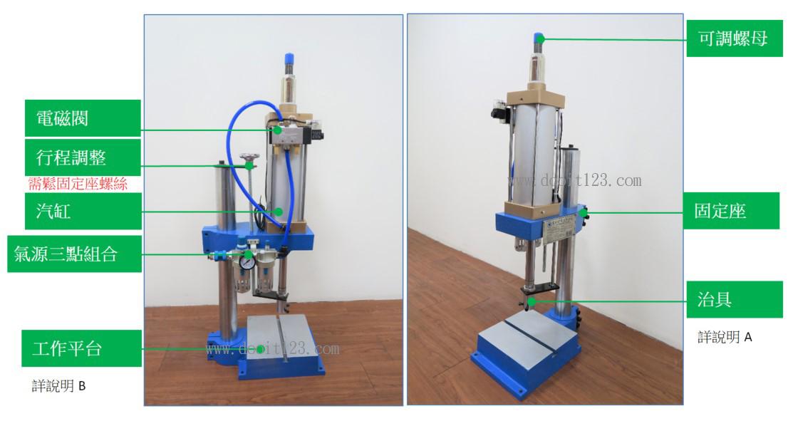 氣壓式沖壓(測試)機、軸承壓入、沖斷、配件組合、彎曲、鉚合、成形、擠壓、打印、打