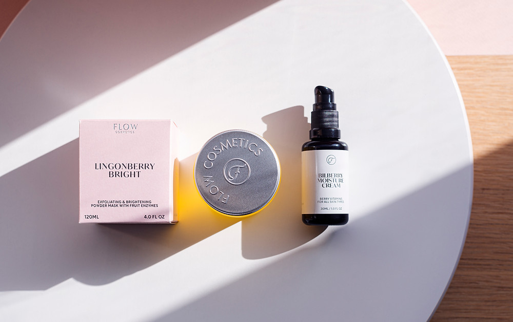 Koti Lifestyle | Flow Cosmetics products, Lingonberry bright mask, balm to milk cleanser and bilberry moisture cream