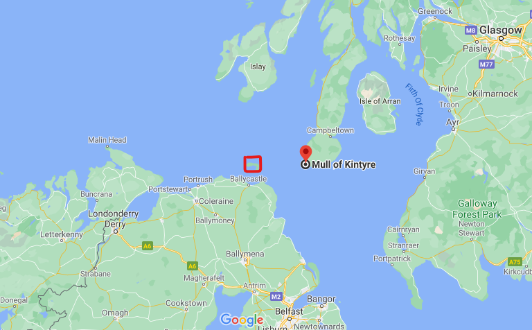 Image taken from Google Maps depicting Rathlin Island, off the coast of northern Ireland, and the Mull of Kintyre.