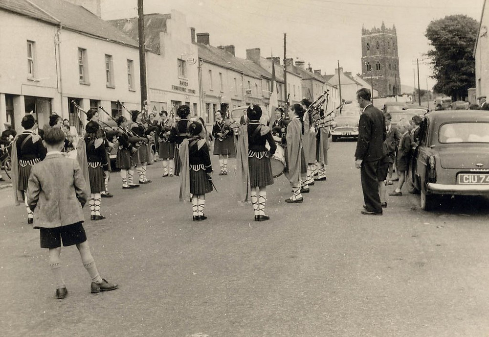 Ballylanders, Limerick, old church, pipe band