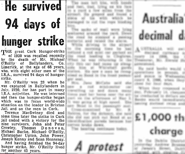 """Obituary of Michael O'Reilly headed: """"He survived 94 days of hunger strike""""."""