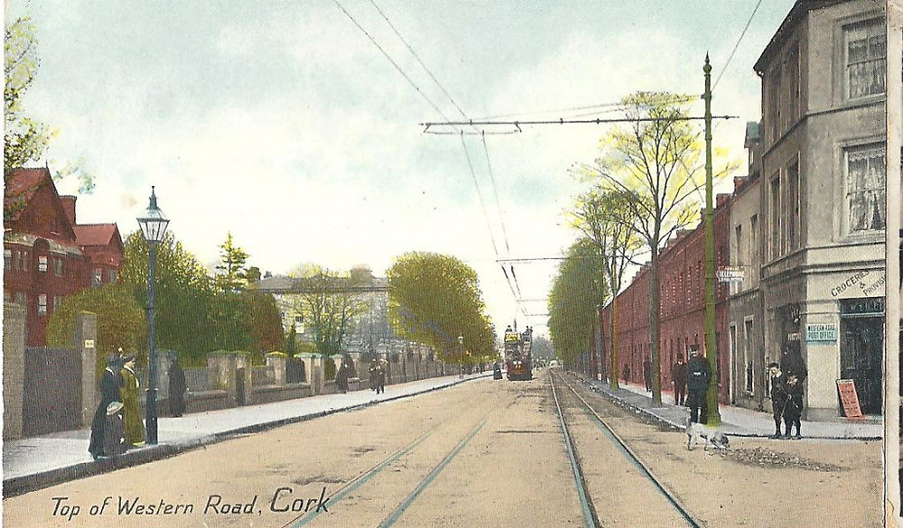Cork, Western Road, UCC, historic, tram, postcard
