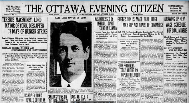 'Ottawa Evening Citizen' reports the death of Terence MacSwiney on 25 October 1920.