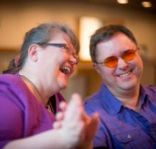 Russ and Riitta laughing whilst doing Social-Haptics
