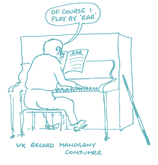 "Cartoon illustraton of Russ at a piano with the caption ""Of couse I play by ear"""