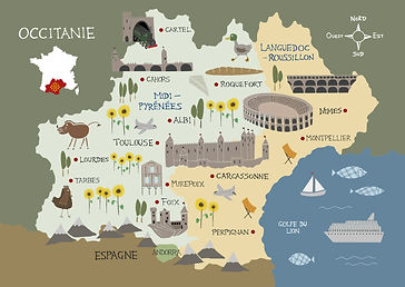 Illustrated map of Occitanie region of South-West France