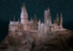 Edited image of Hogwarts model with improved lighting, starry sky, and lights at the windows