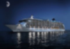 Same cruise ship image, but transformed into a night time shot, at sea, with lights and a moon