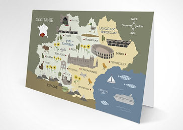 Occitanie illustrated map as a greetings card