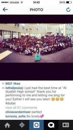 Jessie J at Esther Eden's school.