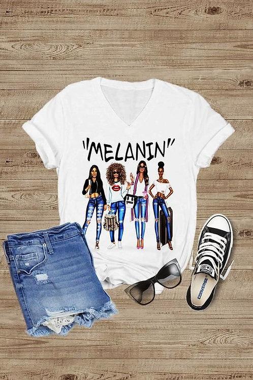 MELANIN Short Sleeve V-Neck T-Shirt