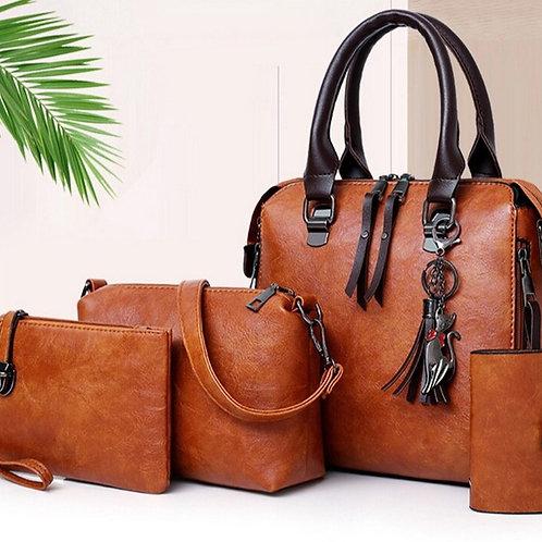 4 Piece Set Women  PU Leather Handbags and Purses