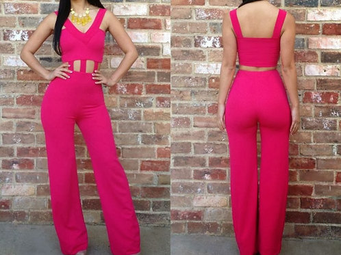 Hot Pink Solid Color Jump Suit