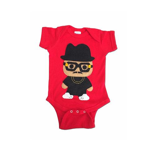 Rad Rapper, Tall Hat, Red Hip Hop Baby Onesie