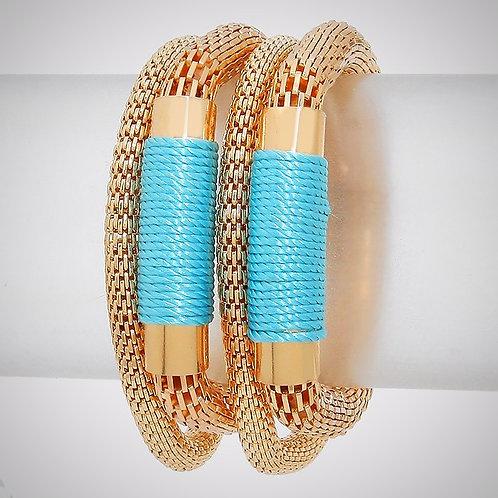 Thread Metal Mesh Stack Stretch Bracelet
