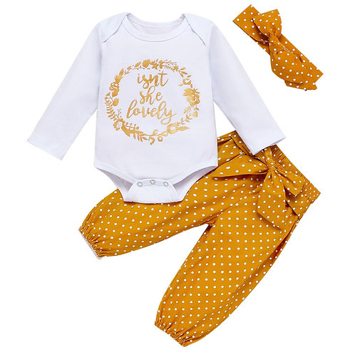 New born Baby Girl 3 Piece Set Cotton Romper