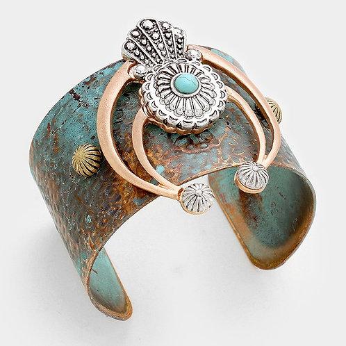 Turquoise detail tribal metal cuff bracelet
