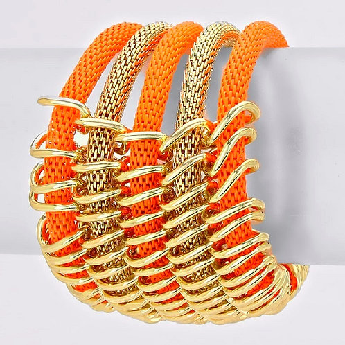 Multi Layered Metal Mesh Statement Stretch Bracelet
