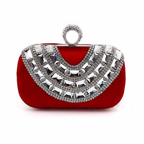 Red Crystal Embellished Clutch Purse