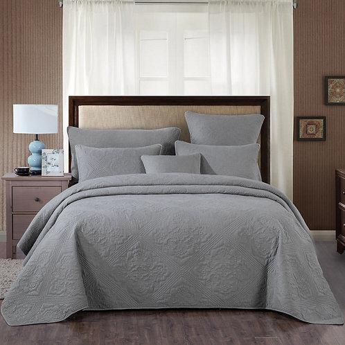 DaDa Bedding Elegant Floral Grey Diamond Pattern Quilted Coverlet Bedspread Set
