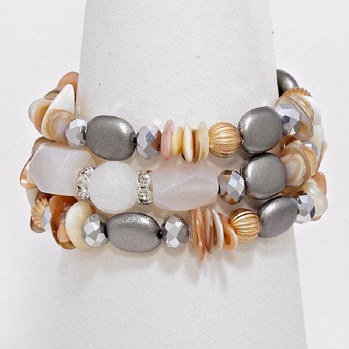 Metallic Bead Accented Pebble Bracelet