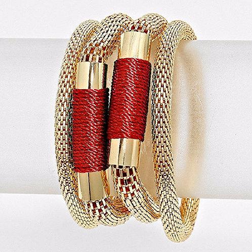 Multi-Layered Thread Metal Mesh Stretch Bracelet
