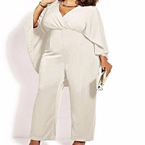 Plus Size High Waist Batwing Jumpsuit for Women