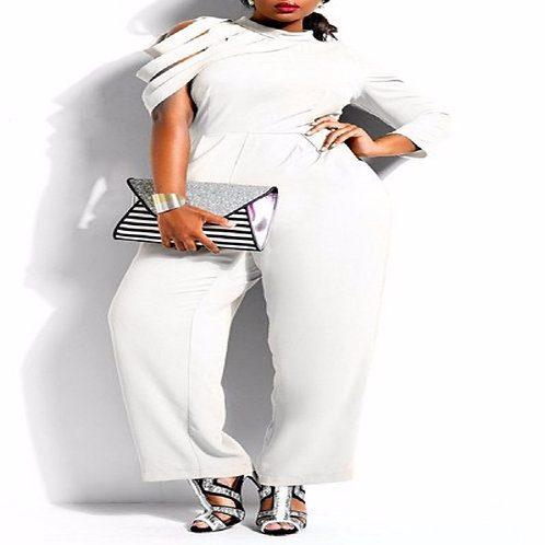 Chic Hollow Out Sleeve Plus Size Jumpsuit