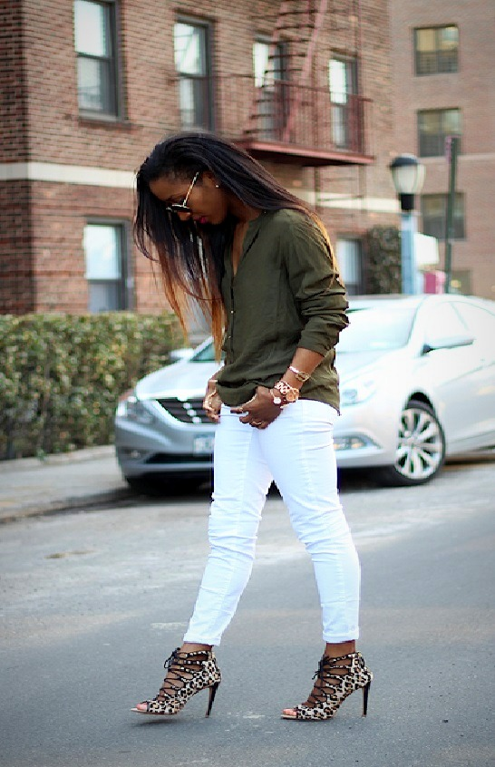White jeans and nude black pumps
