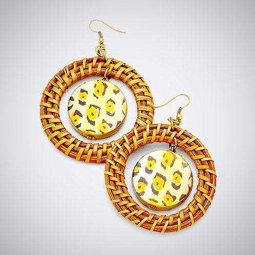 Bamboo Gold-tone Leopard Print Earrings