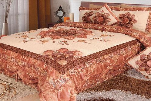 Unique Bedding Floral Autumn Leaves Warm Bronze Bedspread Comforter Set