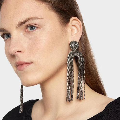 Women Rhinestone Tassel Dangle Earrings