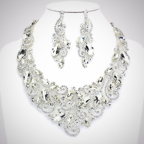 Petal Marquise Rhinestone Bib Evening Necklace