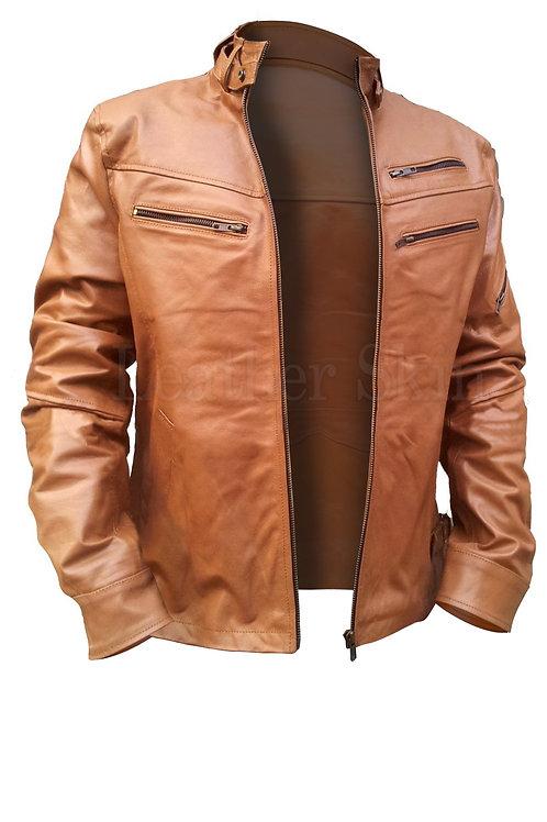 Light Brown Men Leather Fashion Jacket