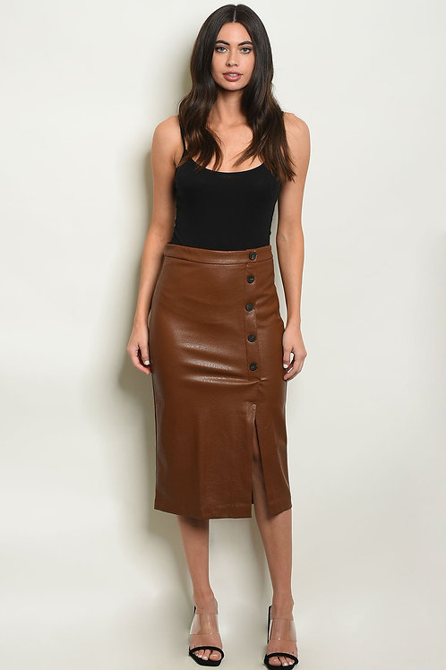 Fashionable Leatherette Brown Skirt